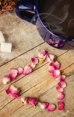 tea with rose petals.