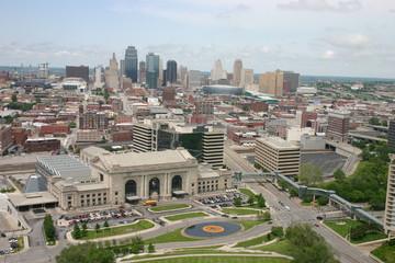 Downtown Kansas City. View of Kansas City from WW I Memorial.
