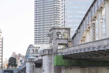 東京風景(勝鬨橋と勝どきの街並み)