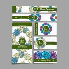 Set of vector design templates. Brochures in random flower style. Vintage frames and backgrounds.