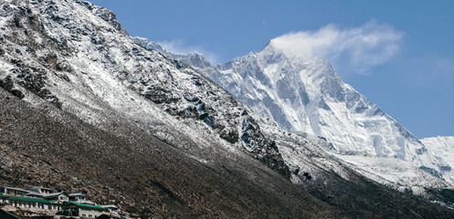 Panoramic view of the Lhotse from the Dingboche village - Nepal, Himalayas