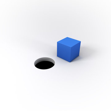 3D Illustrated Blue Square Peg and Round Hole on a Bright White Background