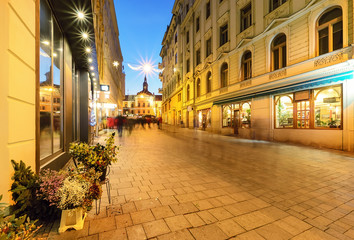 Beautiful street in old town of Brno, decorated by the christmas