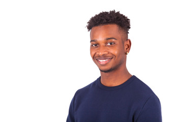 Happy young african american man isolated on white background -