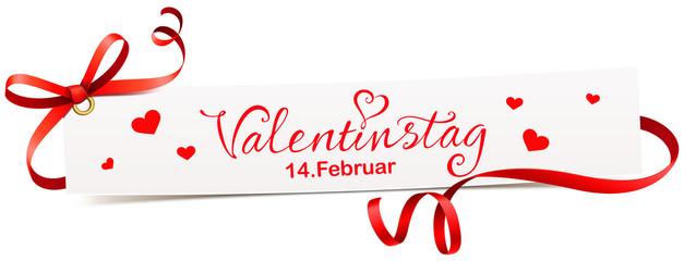 Banner mit roter Schleife, Schriftzug und Termin - Valentinstag, 14. Februar