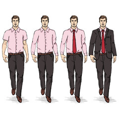 Vector Set of Sketch Men Models. Business Dress Code