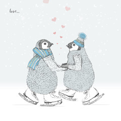 lovers penguins skates on the ice. freehand drawing. vector
