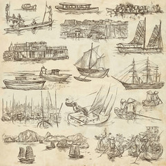 boats and ships around the world - an hand drawn pack