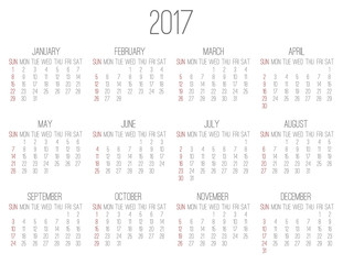 Year 2017 monthly calendar