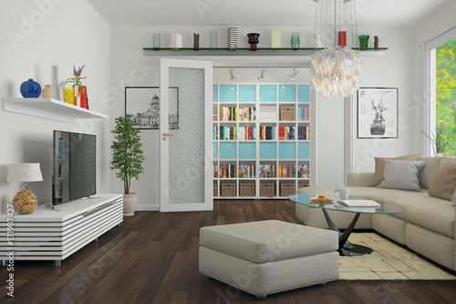 modern eingerichtete altbauwohnung am prenzlauer berg in berlin wohnzimmer stockfotos und. Black Bedroom Furniture Sets. Home Design Ideas