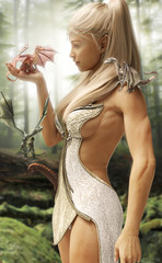 Fantasy wood elf princess and her three mythical dragons in an enchanted forest. 3d rendering