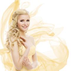 Woman Beauty, Fashion Model Portrait, Blond Hair Long Curls, Yellow Waving Fabric over white
