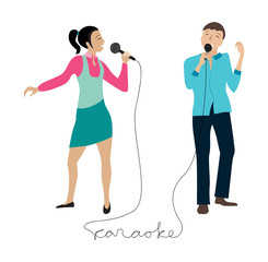 Man and woman singing into microphone vector