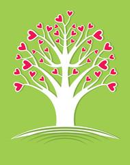 Tree flowering hearts. Flat vector design.