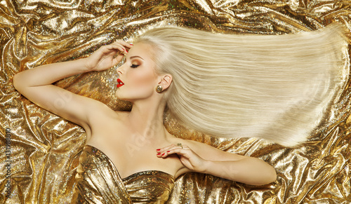 Gold Fashion Hair Style Blonde Woman Hairstyle Golden Long Straight Hair On Luxury Color