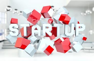Floating 3D render startup presentation with cube