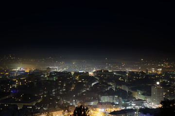 The lit city at night