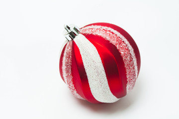 Red Christmas striped pattern ball