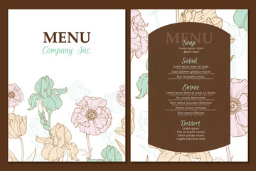 Vector menu template design with vintage floral elements tulip, poppy, daffodil. Great for restaurant, cafe, bar, wedding.