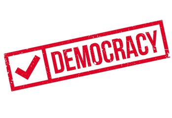 Democracy rubber stamp. Grunge design with dust scratches. Effects can be easily removed for a clean, crisp look. Color is easily changed.
