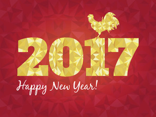 Vector illustration of red and golden rooster, symbol 2017 on the Chinese calendar New Year. Silhouette cock, decorated with geometric patterns.