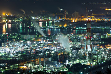 Industry factory in Japan at night