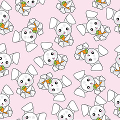 Seamless background of baby shower illustration with cute rabbits and carrots on pink background suitable for scrap paper, wallpaper, and postcard