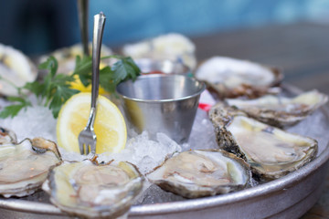 Chesapeake Bay, Oysters, served chilled with red wine mignonette,.cocktail sauce & fresh lemon