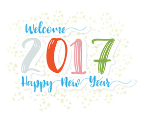 Welcome 2017 Happy New Year Greeting Card Background Vector Illu