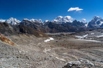 Mountain landscape from Renjo la pass, Everest region, Nepal