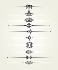 Calligraphic dividers for decorating pages. Design elements vector art