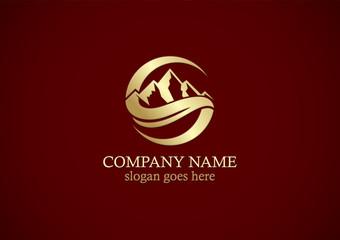 mountain volcano gold logo