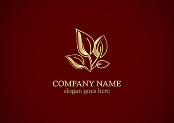organic plant leaf gold logo