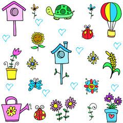 Illustration vector of spring set doodles