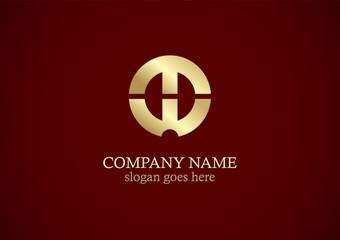 round shape letter h gold logo