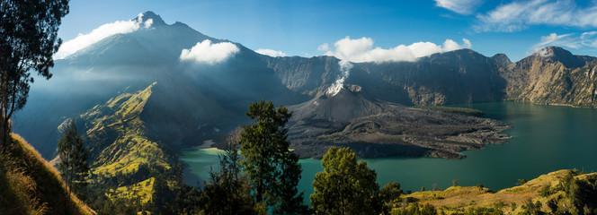 "Mount Rinjani Crater Lake: View of crater lake and summit, volcano ""Gunung Rinjani"", Lombok, Indonesia."