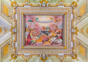 Ornate ceiling frescoes in a basilica in Rome