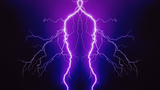 Electric discharge purple lightning on a black background.