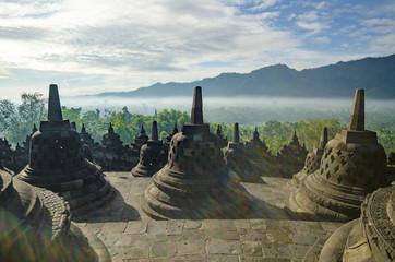 Stone stupa Borobudur Temple. The island of Java. Indonesia