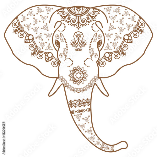 Mehndi Elephant Head : Quot brown and white elephant s head in mehndi indian style