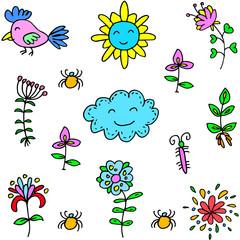Doodle of spring item vector art