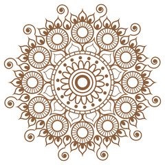 Henna Brown mehndi tatoo mandala in Indian style.