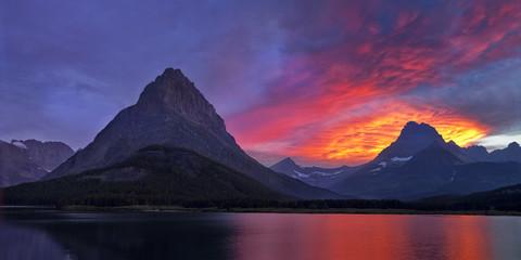 Fiery sunset over Glacier National Park