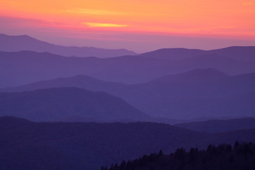 Misty sunset at Clingman's Dome in the Great Smoky Mountain National Park