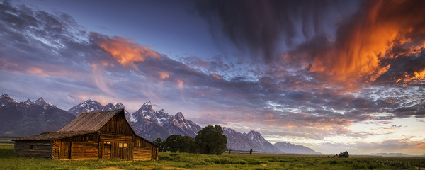 Tetons and Mormon Row panorama at sunrise
