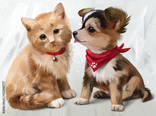 Cat & Dog watercolor painting