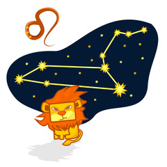 Cartoon Zodiac signs. Vector illustration of the Leo with a rectangular face. A schematic arrangement of stars in the constellation Leo