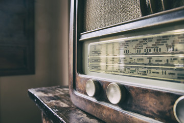 Wooden retro radio