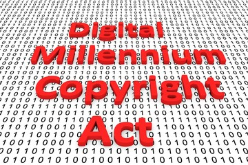 Digital millennium copyright act in the form of binary code, 3D illustration