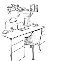 Hand drawn sketch of modern workspace with work table.